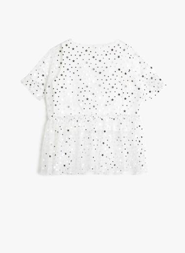 Koton Koton Yıldız Desenli Tüllü T-Shirt Ekru